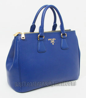 Prada Vitello Daino Dark Blue Original Leather Tote Bag-1