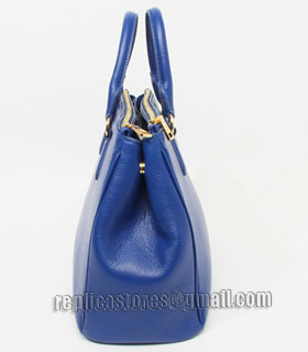 Prada Vitello Daino Dark Blue Original Leather Tote Bag-2