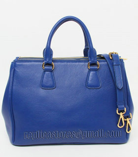 Prada Vitello Daino Dark Blue Original Leather Tote Bag-3