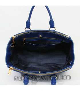 Prada Vitello Daino Dark Blue Original Leather Tote Bag-6