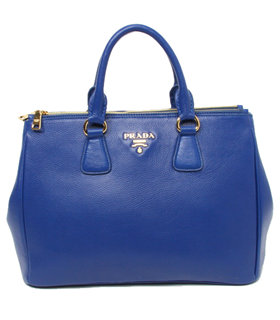 Prada Vitello Daino Dark Blue Original Leather Tote Bag