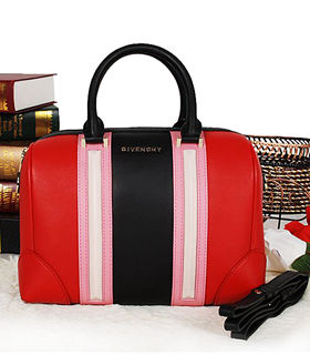 Givenchy Lucrezia Small Boston Bag Red/Pink/Black Original Leather