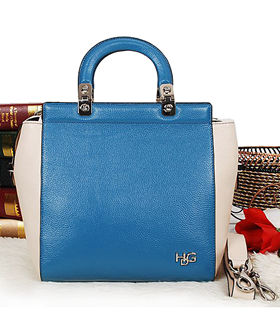 Givenchy Blue Calfskin Leather Top Handle Bag