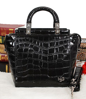 Givenchy Black Croc Veins Leather Top Handle Bag