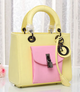 Christian Dior Yellow Original Leather Small Tote Bag