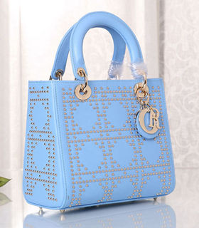 Christian Dior Sky Blue Leather Small Tote Bag With Nail