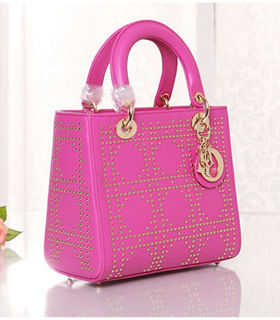 Christian Dior Fuchsia Leather Small Tote Bag With Nail