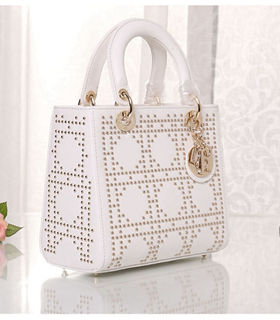 Christian Dior White Leather Small Tote Bag With Nail