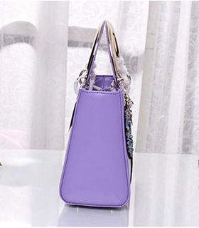 Christian Dior Badge Lavender Purple Original Leather Small Tote Bag With Metal Handle