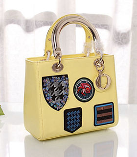 Christian Dior Badge Lavender Yellow Original Leather Small Tote Bag With Metal Handle