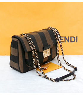 Fendi Iconic Be Baguette Small Bag Stripe Fabric With Black Leather