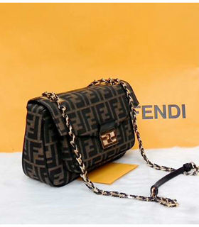 Fendi Iconic Be Baguette Small Bag FF Fabric With Black Leather