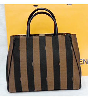 Fendi 2jours Stripe Fabric With Black Leather Tote Bag