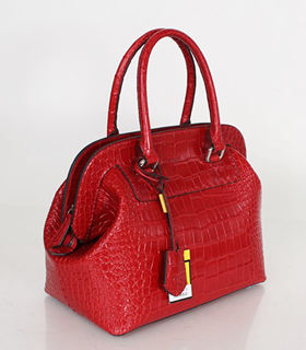 Fendi Selleria Zucca Red Croc Veins Leather Large Doctor Bag