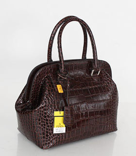 Fendi Selleria Zucca Coffee Croc Veins Leather Large Doctor Bag