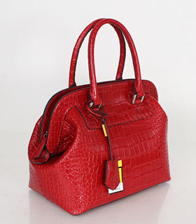 Fendi Small Red Croc Veins Leather Tote Bag