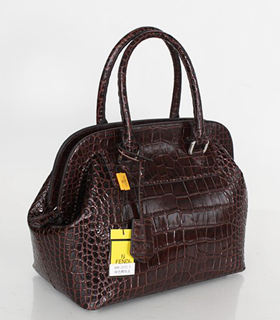 Fendi Small Coffee Croc Veins Leather Tote Bag
