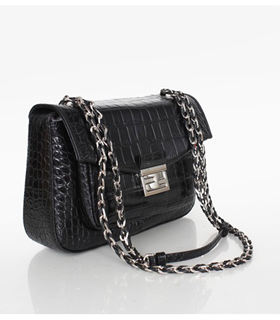 Fendi Iconic Be Baguette Small Bag With Black Croc Veins Leather