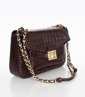 Fendi Iconic Be Baguette Small Bag With Coffee Croc Veins Leather