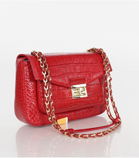 Fendi Iconic Be Baguette Small Bag With Red Croc Veins Leather