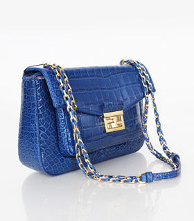 Fendi Iconic Be Baguette Small Bag With Blue Croc Veins Leather