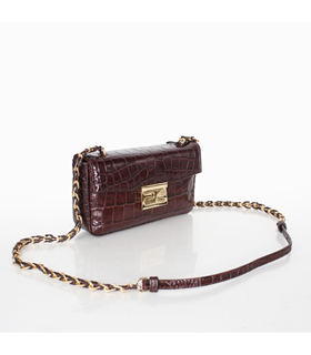 Fendi Mini Be Baguette Bag With Coffee Croc Veins Leather