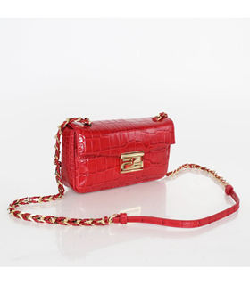 Fendi Mini Be Baguette Bag With Red Croc Veins Leather