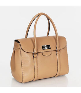 Fendi Signature Franca Tote Shoulder Bag With Apricot Litchi Pattern Original Leather