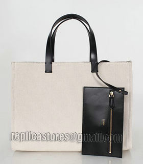 Fendi Apricot Linen With Leather Tote Bag-1
