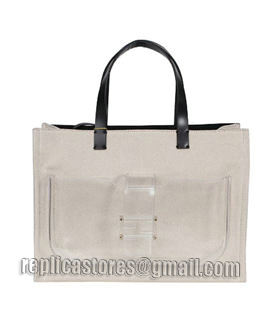 Fendi Apricot Linen With Leather Tote Bag-5
