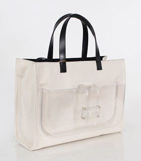 Fendi Apricot Linen With Leather Tote Bag