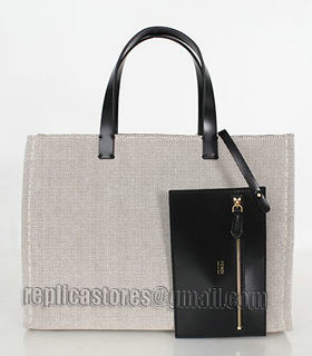 Fendi Coffee Linen With Leather Tote Bag-1