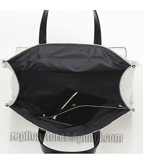 Fendi Coffee Linen With Leather Tote Bag-4