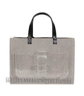 Fendi Coffee Linen With Leather Tote Bag-5