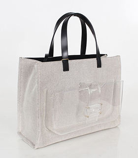 Fendi Coffee Linen With Leather Tote Bag