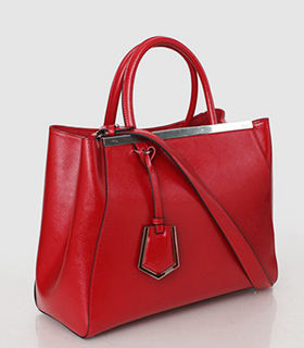 Fendi 2jours Red Patent Leather Tote Bag
