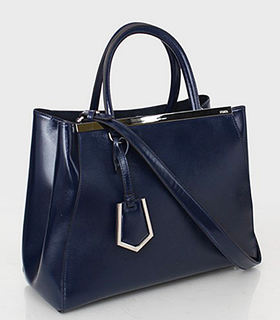 Fendi 2jours Blue Patent Leather Tote Bag
