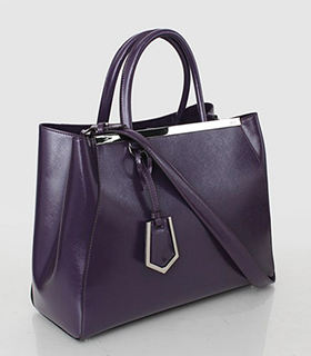 Fendi 2jours Purple Patent Leather Small Tote Bag