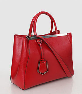 Fendi 2jours Red Patent Leather Small Tote Bag
