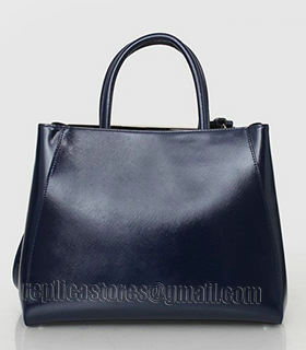 Fendi 2jours Blue Patent Leather Small Tote Bag-1