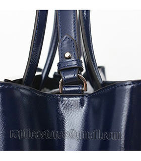 Fendi 2jours Blue Patent Leather Small Tote Bag-3