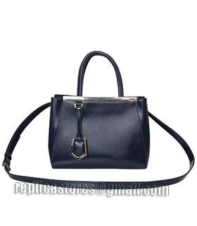 Fendi 2jours Blue Patent Leather Small Tote Bag-5