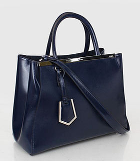 Fendi 2jours Blue Patent Leather Small Tote Bag