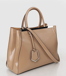 Fendi 2jours Apricot Patent Leather Small Tote Bag