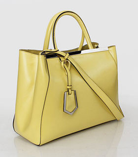 Fendi 2jours Yellow Patent Leather Small Tote Bag