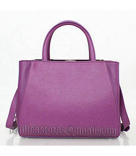 Fendi 2jours Purple Leather Small Tote Bag-1