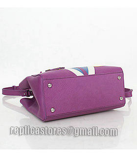 Fendi 2jours Purple Leather Small Tote Bag-2