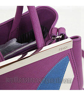 Fendi 2jours Purple Leather Small Tote Bag-3