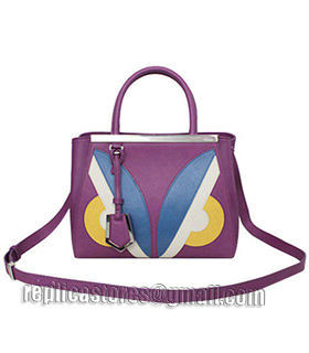 Fendi 2jours Purple Leather Small Tote Bag-5
