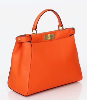 Fendi Kaboo Orange Red Original Leather With Stripe Fabric Inside Medium Tote Bag